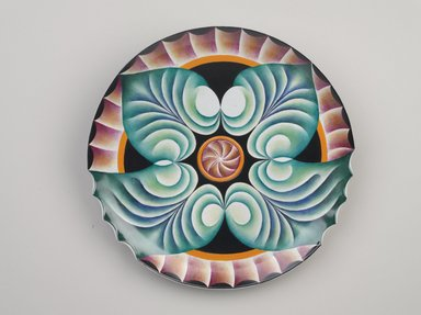 Judy Chicago (American, born 1939). <em>Hypatia Place Setting</em>, 1974-1979. Runner:Cotton/linen base fabric, woven interface support material (horsehair, wool, and linen), cotton twill tape, silk, synthetic gold cord, weft-faced bleached linen tapestry, single-ply wool weft, silk thread, wool thread, rubber rings