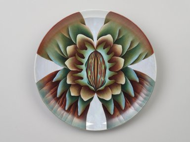 Judy Chicago (American, born 1939). <em>Marcella Place Setting</em>, 1974-1979. Runner:Cotton/linen base fabric, woven interface support material (horsehair, wool, and linen), cotton twill tape, silk, synthetic gold cord, wool, camel hair, wool fabric, silk thread