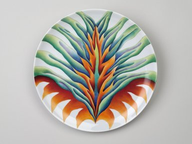 Judy Chicago (American, born 1939). <em>Saint Bridget Place Setting</em>, 1974-1979. Runner:Cotton/linen base fabric, silk, woven interface support material (horsehair, wool, and linen), cotton twill tape, silk, synthetic gold cord, hardwood, wool, monofilament nylon thread, silk, cotton floss thread, yarn, thread Plate: Porcelain with overglaze enamel (China paint), Runner:51 5/8 x 30 1/4 (131.1 x 76.8 cm). Brooklyn Museum, Gift of The Elizabeth A. Sackler Foundation, 2002.10-PS-15. © artist or artist's estate (Photo: Brooklyn Museum, 2002.10-PS-15_plate_PS9.jpg)