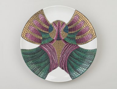 Judy Chicago (American, born 1939). <em>Theodora Place Setting</em>, 1974-1979. Runner: Cotton/linen base fabric, woven interface support material (horsehair, wool, and linen), cotton twill tape, silk satin fabric, silk, synthetic gold cord, colored silk couching threads, velvet, silk faille fabric, silk thread Plate: Porcelain with overglaze enamel (China paint) and gold glaze, Runner: 50 3/4 x 30 3/8 in. (128.9 x 77.2 cm). Brooklyn Museum, Gift of The Elizabeth A. Sackler Foundation, 2002.10-PS-16. © artist or artist's estate (Photo: Brooklyn Museum, 2002.10-PS-16_plate_PS9.jpg)