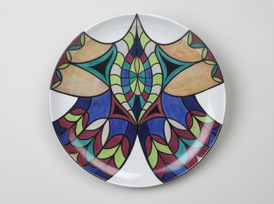 Judy Chicago (American, born 1939). <em>Hildegarde of Bingen Place Setting</em>, 1974-1979. Runner:Cotton/linen base fabric, woven interface support material (horsehair, wool, and linen), cotton twill tape, silk, synthetic gold cord, cotton cord, felt, silk thread, silk satin fabric, colored cords, unknown padding materials, thread