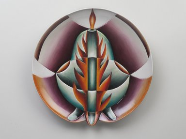 Judy Chicago (American, born 1939). <em>Petronilla de Meath Place Setting</em>, 1974-1979. Runner: Cotton/linen base fabric, woven interface support material (horsehair, wool, and linen), cotton twill tape, silk, synthetic gold cord, wool, silk, cotton, felt padding, wool and cotton cords, yarn, cotton floss, thread