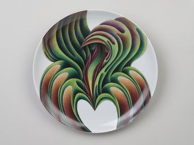 Judy Chicago (American, born 1939). <em>Christine de Pisan Place Setting</em>, 1974-1979. Runner: Cotton/linen base fabric, woven interface support material (horsehair, wool, and linen), cotton twill tape, silk, synthetic gold cord, canvas, wool yarn, thread