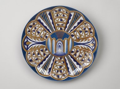 Judy Chicago (American, born 1939). <em>Isabella d'Este Place Setting</em>, 1974-1979. Runner: Cotton/linen base fabric, woven interface support material (horsehair, wool, and linen), cotton twill tape, silk, synthetic gold cord, thread, silk satin fabric, silk thread, cotton canvas, silk cord, handmade silk tassels Plate: Porcelain with overglaze enamel (China paint), yellow luster, and rainbow overglaze, Runner: 52 1/8 x 30 3/8 in. (132.4 x 77.2 cm). Brooklyn Museum, Gift of The Elizabeth A. Sackler Foundation, 2002.10-PS-23. © artist or artist's estate (Photo: Brooklyn Museum, 2002.10-PS-23_plate_PS9.jpg)