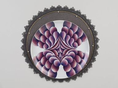 Judy Chicago (American, born 1939). <em>Elizabeth R. Place Setting</em>, 1974-1979. Runner: Silk satin, cotton/linen base fabric, woven interface support material (horsehair, wool, and linen), cotton twill tape, silk, synthetic gold cord, pearls, satin fabric, colored silk thread