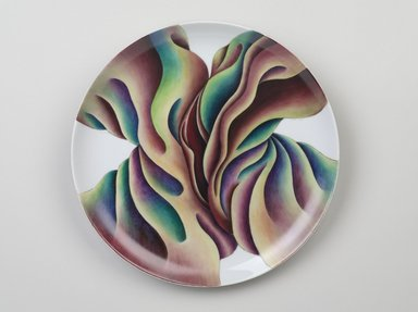 Judy Chicago (American, born 1939). <em>Artemisia Gentileschi Place Setting</em>, 1974-1979. Runner: Decorative fabrics, cotton/linen base fabric, woven interface support material (horsehair, wool, and linen), cotton twill tape, silk, synthetic gold cord, silk velvet fabric, felt, linen interface, silk fabrics, textile paint, metallic cord, silk thread Plate: Porcelain with overglaze enamel (China paint), Runner: 53 x 32 1/2 in. (134.6 x 82.6 cm). Brooklyn Museum, Gift of The Elizabeth A. Sackler Foundation, 2002.10-PS-25. © artist or artist's estate (Photo: Brooklyn Museum, 2002.10-PS-25_plate_PS9.jpg)