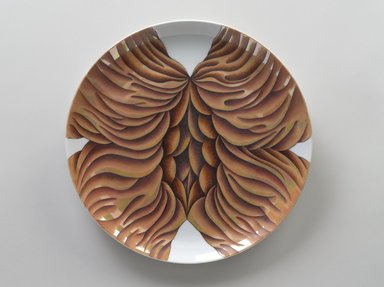 Judy Chicago (American, born 1939). <em>Anna van Schurman Place Setting</em>, 1974-1979. Runner:Cotton/linen base fabric, woven interface support material (horsehair, wool, and linen), cotton twill tape, silk, synthetic gold cord, thread, perle cotton, cotton floss