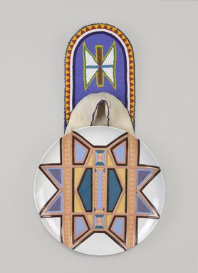 Judy Chicago (American, born 1939). <em>Sacajawea Place Setting</em>, 1974-1979. Runner: Cotton/linen base fabric, cotton twill tape, silk, synthetic gold cord, tanned deerskin, glass beads, thread
