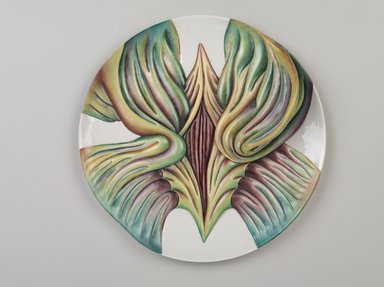 Judy Chicago (American, born 1939). <em>Mary Wollstonecraft Place Setting</em>, 1974-1979. Runner: Silk satin, cotton/linen base fabric, woven interface support material (horsehair, wool, and linen), cotton twill tape, silk, synthetic gold cord, felt padding, braid, buttons, lace, kid leather, ribbons, feathers, suede leather, silk, paint, silk thread