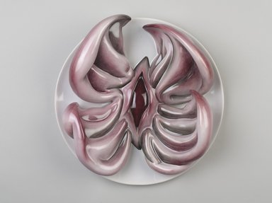 Judy Chicago (American, born 1939). <em>Susan B. Anthony Place Setting</em>, 1974-1979. Runner: White silk satin, cotton/linen fabric, felt, muslin, cotton twill tape, silk, synthetic gold cord, velvet, appliquéd quilting, silk, fringe, metal pins, silk thread, ribbon, metallic cords