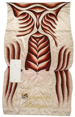 Judy Chicago (American, born 1939). <em>Margaret Sanger Place Setting</em>, 1974-1979. Runner: Silk satin, cotton/linen base fabric, woven interface support material (horsehair, wool, and linen), cotton twill tape, silk, synthetic gold cord, silk thread