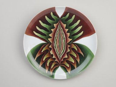 Judy Chicago (American, born 1939). <em>Judith Place Setting</em>, 1974-1979. Runner:Cotton/linen base fabric, woven interface support material (horsehair, wool, and linen), cotton twill tape, silk, synthetic gold cord, velvet, wool, glass beads, etched 14-gauge sheet metal, couched cord, thread Plate: Porcelain with overglaze enamel (China paint), Runner: 53 5/8 x 30 1/8 in. (136.2 x 76.5 cm). Brooklyn Museum, Gift of The Elizabeth A. Sackler Foundation, 2002.10-PS-9. © artist or artist's estate (Photo: Brooklyn Museum, 2002.10-PS-9_plate_PS9.jpg)