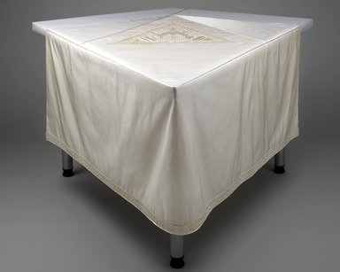 Judy Chicago (American, born 1939). <em>The Dinner Party</em>, 1974-1979. Ceramic, porcelain, textile; triangular table, 576 x 576 in. (1463 x 1463 cm). Brooklyn Museum, Gift of The Elizabeth A. Sackler Foundation, 2002.10. © artist or artist's estate (Photo: , 2002.10-Table_MCR-2_PS1.jpg)