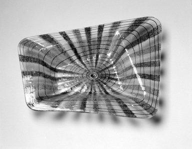 Michael Higgins (American, born England, 1908-1999). <em>Bowl</em>, ca. 1955. Glass, 1 1/2 x 12 3/4 x 10 in. (3.8 x 32.4 x 25.4 cm). Brooklyn Museum, H. Randolph Lever Fund, 2002.104.3. Creative Commons-BY (Photo: Brooklyn Museum, 2002.104.3_bw.jpg)
