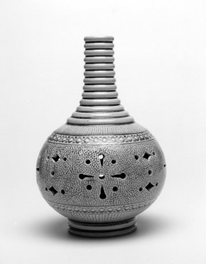 Burmantofts Pottery (1882-1904). <em>Vase</em>, 1884-1891. Glazed earthenware, height: 7 1/4 in.; diameter: 4 3/4 in. Brooklyn Museum, Gift of Rosemarie Haag Bletter and Martin Filler, 2002.106.1. Creative Commons-BY (Photo: Brooklyn Museum, 2002.106.1_bw.jpg)