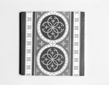 Minton & Hollins Tile Works (1845-1868). <em>Tile</em>, ca. 1850. Earthenware, 3/8 x 6 x 6 in. (1.0 x 15.2 x 15.2 cm). Brooklyn Museum, Gift of Rosemarie Haag Bletter and Martin Filler, 2002.106.2 (Photo: Brooklyn Museum, 2002.106.2_bw.jpg)