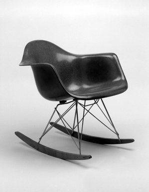 Charles Eames (American, 1907-1978). <em>Rocker</em>, ca. 1950. Fiberglass, wood, metal, rubber, 26 1/2 x 24 3/4 x 27 1/8 in. (67.3 x 62.9 x 68.9 cm). Brooklyn Museum, Gift of Dr. Alvin E. Friedman-Kien, 2002.107.4. Creative Commons-BY (Photo: Brooklyn Museum, 2002.107.4_bw.jpg)