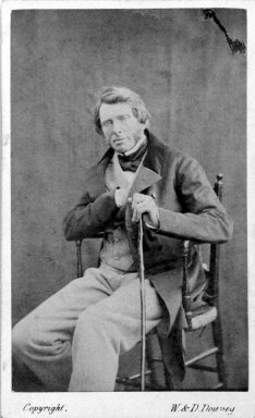 W. and D. Downey (British, active 1860s-1900s). <em>[Untitled] (Portrait of John Ruskin)</em>, 1863. Albumen silver photograph, Sheet: 3 3/4 x 2 1/2 in. (9.5 x 6.4 cm). Brooklyn Museum, Gift of Rosemarie Haag Bletter and Martin Filler, 2002.112.1 (Photo: Brooklyn Museum, 2002.112.1_bw.jpg)