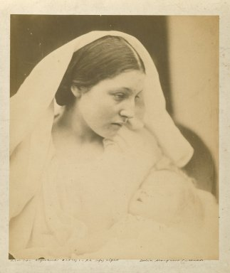 Julia Margaret Cameron (British, born India, 1815-1879). <em>La Madonna Riposata/ Resting in Hope</em>, 1864. Albumen silver photograph, Image: 9 1/2 x 8 in. (24.1 x 20.3 cm). Brooklyn Museum, Gift of Rosemarie Haag Bletter and Martin Filler, 2002.112.2 (Photo: Brooklyn Museum, 2002.112.2_PS6.jpg)