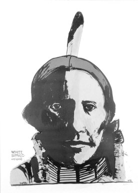 Leonard Baskin (American, 1922-2000). <em>White Buffalo</em>, 1993. Lithograph, 41 1/2 x 29 3/4 in. (105.4 x 75.6 cm). Brooklyn Museum, Gift of Estelle Unger, 2002.117. © artist or artist's estate (Photo: Brooklyn Museum, 2002.117_bw.jpg)