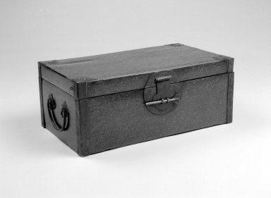 <em>Document Box</em>, 1644-1911. Lacquered wood (specific type unknown) with metal mounts, 6 x 14 7/8 x 8 1/2 in. (15.2 x 37.8 x 21.6 cm). Brooklyn Museum, Gift of Dr. Alvin E. Friedman-Kien, 2002.119.10a-b. Creative Commons-BY (Photo: Brooklyn Museum, 2002.119.10_bw.jpg)