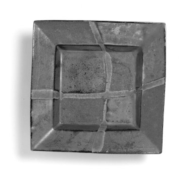Hamada Shoji (Japanese, 1894-1978). <em>Square Dish</em>, after 1946. Stoneware with persimmon glaze, dish: 11 3/8 x 11 1/4 x 2 1/2 in. (28.9 x 28.6 x 6.4 cm). Brooklyn Museum, Gift of Dr. Alvin E. Friedman-Kien, 2002.119.16a-b. Creative Commons-BY (Photo: Brooklyn Museum, 2002.119.16a-b_bw.jpg)