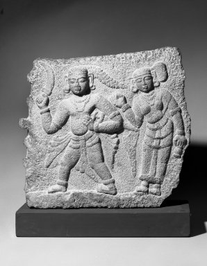 <em>Relief of a Warrior with Attendant</em>, 17th century. Granite, 23 1/2 x 27 in.  (59.7 x 68.6 cm). Brooklyn Museum, Gift of Dr. Alvin E. Friedman-Kien, 2002.119.1. Creative Commons-BY (Photo: Brooklyn Museum, 2002.119.1_bw.jpg)