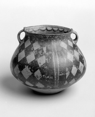 <em>Jar with Flat Base</em>, 7000-1600 B.C.E. Red earthenware with iron glaze, height: 6 3/4 in. (17.1 cm); diameter: 8 in. (20.3 cm). Brooklyn Museum, Gift of Dr. Alvin E. Friedman-Kien, 2002.119.4. Creative Commons-BY (Photo: Brooklyn Museum, 2002.119.4_bw.jpg)
