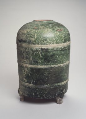 <em>Granary</em>, 206 B.C.E.-220 C.E. Earthenware with green glaze, Height: 13 1/8 in. (33.3 cm). Brooklyn Museum, Gift of Dr. Alvin E. Friedman-Kien, 2002.119.5. Creative Commons-BY (Photo: Brooklyn Museum, 2002.119.5_transp5842.jpg)