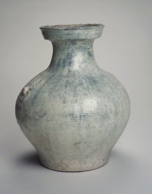 <em>Vessel (Hu)</em>, 206 B.C.E.-220 C.E. Earthenware with oxidized green lead glaze, Height: 13 1/4 in. (33.7 cm). Brooklyn Museum, Gift of Dr. Alvin E. Friedman-Kien, 2002.119.7. Creative Commons-BY (Photo: Brooklyn Museum, 2002.119.7_transp5841.jpg)