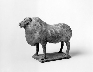 <em>Funerary Figurine of a Bullock</em>, late 6th-early 7th century. Earthenware with white and black slip, 5 1/2 x 7 1/2 x 3 1/2 in. (14 x 19.1 x 8.9 cm). Brooklyn Museum, Gift of Dr. Alvin E. Friedman-Kien, 2002.119.8. Creative Commons-BY (Photo: Brooklyn Museum, 2002.119.8_bw.jpg)