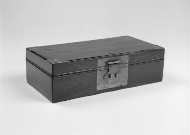 <em>Document Box</em>, 18th century. Zitan with metal mounts, 12 3/4 x 6 1/4 x 4 5/8 in. (32.4 x 15.9 x 11.7 cm). Brooklyn Museum, Gift of Dr. Alvin E. Friedman-Kien, 2002.119.9. Creative Commons-BY (Photo: Brooklyn Museum, 2002.119.9_bw.jpg)
