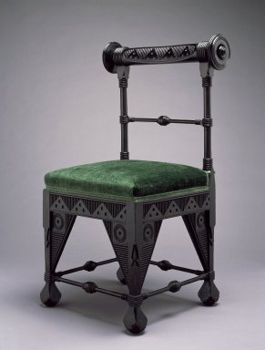 Daniel Pabst (American, born Germany, 1826-1910). <em>Chair</em>, ca. 1880. Ebonized cherry, old, but not original, silk velvet fabric, 37 1/8 x 21 3/4 x 19 in. (94.3 x 55.2 x 48.3 cm). Brooklyn Museum, Marie Bernice Bitzer Fund, 2002.11. Creative Commons-BY (Photo: Brooklyn Museum, 2002.11_SL3.jpg)