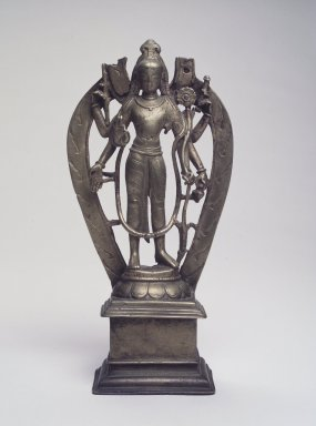 <em>Standing Six-Armed Lokeshvara</em>, 10th century. Bronze, 9 3/8 x 7 13/16 x 2 3/8 in. (23.8 x 19.8 x 6 cm). Brooklyn Museum, Gift of Mr. and Mrs. Robert L. Poster in honor of Dr. Bertram H. Schaffner's 90th Birthday, 2002.120 (Photo: Brooklyn Museum, 2002.120_transp5840.jpg)