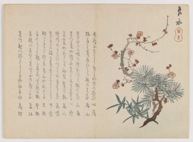 Chôsui Yabu (Japanese, active 1830-1864). <em>Three Auspicious Friends: Pine, Bamboo and Plum</em>, ca. 1860. Woodblock print; horizontal Chûban yoko-e format, 7 1/8 x 9 3/16 in. (18.1 x 23.3 cm). Brooklyn Museum, Gift of Dr. Eleanor Z. Wallace in memory of her husband, Dr. Stanley L. Wallace, 2002.121.20 (Photo: Brooklyn Museum, 2002.121.20_IMLS_PS3.jpg)