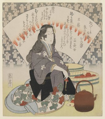 Yashima Gakutei (Japanese, 1786?-1868). <em>Waitress and Copper Kettle</em>, ca. 1830. Woodblock print, shikishiban format; deluxe printing with extensive metals , 8 3/8 x 7 5/16 in. (21.2 x 18.6 cm). Brooklyn Museum, Gift of Dr. Eleanor Z. Wallace in memory of her husband, Dr. Stanley L. Wallace, 2002.121.3 (Photo: Brooklyn Museum, 2002.121.3_IMLS_PS3.jpg)