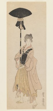 Utagawa Toyohiro (Japanese, 1773-1829). <em>Young Woman Carries Adorned Pole for a Procession</em>, ca. 1805-6. Woodblock print, narrow koban tate-e surimono-style printing, 9 1/4 x 3 3/8 in. (23.5 x 8.6 cm). Brooklyn Museum, Gift of Dr. Eleanor Z. Wallace in memory of her husband, Dr. Stanley L. Wallace, 2002.121.5 (Photo: Brooklyn Museum, 2002.121.5_IMLS_PS3.jpg)