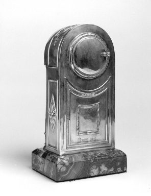 G. Grachev (Russian). <em>Clock</em>, ca.1885. Silver, malachite, other materials, 7 3/4 x 4 1/8 x 3 in. (19.7 x 10.5 x 7.6 cm). Brooklyn Museum, Gift of Lori Price, 2002.123. Creative Commons-BY (Photo: Brooklyn Museum, 2002.123_back_bw.jpg)