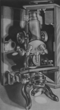 Carol Wax (American, born 1953). <em>Grandpa's Microscope</em>. Mezzotint, Image (Sight): 15 9/16 x 8 9/16 in. (39.5 x 21.7 cm). Brooklyn Museum, Gift of Dr. and Mrs. Julian Hyman, 2002.124. © artist or artist's estate (Photo: Brooklyn Museum, 2002.124_bw.jpg)
