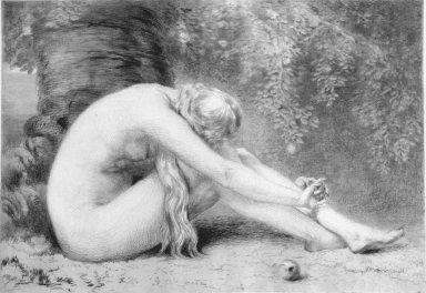 Anna Lea Merritt (American, 1844-1930). <em>Eve (Eve Repentant)</em>. Etching, Sheet: 18 x 23 5/8 in. (45.7 x 60 cm). Brooklyn Museum, Gift of Rona and Martin L. Schneider, 2002.125. Creative Commons-BY (Photo: Brooklyn Museum, 2002.125_bw.jpg)