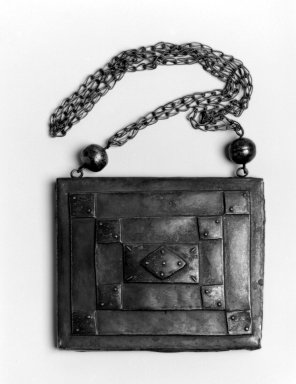 Mende. <em>Pendant and Chain</em>, late 19th century. Silver, pendant: 5 3/4 x 6 3/4 x 1 in.  (14.6 x 17.1 x 2.5 cm);. Brooklyn Museum, Gift of Blake Robinson, 2002.31.10. Creative Commons-BY (Photo: Brooklyn Museum, 2002.31.10_bw.jpg)