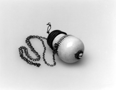 Massai Kisongo. <em>Snuff Container</em>, 19th or 20th century. Ivory, leather, metal, glass beads, fiber, loose stone, vessel:  3 x 1 3/4 x 1 3/4 in.  (7.6 x 4.4 x 4.4 cm);. Brooklyn Museum, Gift of Blake Robinson, 2002.31.8a-b. Creative Commons-BY (Photo: Brooklyn Museum, 2002.31.8a-b_bw.jpg)