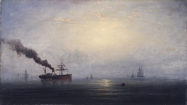 James Hamilton (American, 1819-1878). <em>Foggy Morning on the Thames</em>, ca. 1875. Oil on panel, 9 5/16 x 16 1/4 in. (23.7 x 41.3 cm). Brooklyn Museum, Bequest of Nancy Hay, 2002.32.1 (Photo: Brooklyn Museum, 2002.32.1_transp5775.jpg)
