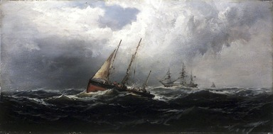 James Hamilton (American, 1819-1878). <em>After a Gale--Wreckers</em>, ca. 1875. Oil on panel, 7 15/16 x 16 in. (20.2 x 40.7 cm). Brooklyn Museum, Bequest of Nancy Hay, 2002.32.2 (Photo: Brooklyn Museum, 2002.32.2_transp5774.jpg)