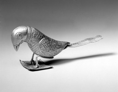 <em>Votive Bird</em>, late 18th-19th century. Gold, 2 1/8 x 5 in. (5.4 x 12.7 cm). Brooklyn Museum, Anonymous gift, 2002.35. Creative Commons-BY (Photo: Brooklyn Museum, 2002.35_bw.jpg)