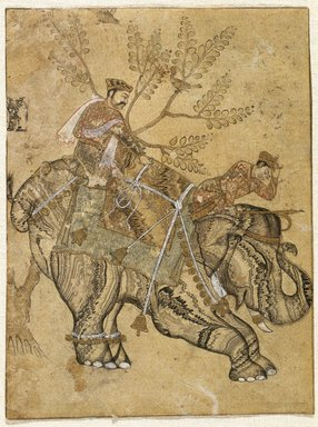 Indian. <em>Stalling Elephant</em>, mid 17th century. Ink, gold and watercolor on paper, Sheet: 6 1/2 x 4 7/8 in. (16.5 x 12.4 cm). Brooklyn Museum, Gift of Dr. Bertram H. Schaffner in celebration of his 90th Birthday, 2002.38 (Photo: Brooklyn Museum, 2002.38_IMLS_SL2.jpg)