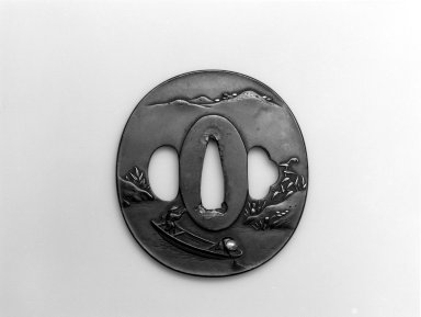 <em>Sword Guard (Tsuba)</em>, 19th century. Shibuichi, iroe, copper, 2 3/4 x 2 1/2 in.  (7 x 6.4 cm). Brooklyn Museum, Bequest of Christiana C. Burnett, 2002.4.10. Creative Commons-BY (Photo: Brooklyn Museum, 2002.4.10_bw.jpg)