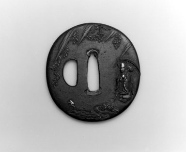 <em>Sword Guard (Tsuba)</em>, 19th century. Iron, iroe, copper, 2 3/4 x 2 5/8 in.  (7 x 6.7 cm). Brooklyn Museum, Bequest of Christiana C. Burnett, 2002.4.11. Creative Commons-BY (Photo: Brooklyn Museum, 2002.4.11_side1_bw.jpg)