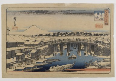 Utagawa Hiroshige (Ando) (Japanese, 1797-1858). <em>View of Nihonbashi Bridge, Edo,  (Edo Meisho)</em>. Woodblock print, color on paper, Image: 8 1/2 x 13 3/4 in., with gilt wood frame: 15 3/4 x 22 1/4 in. Brooklyn Museum, Bequest of Christiana C. Burnett, 2002.4.2 (Photo: Brooklyn Museum, 2002.4.2_IMLS_PS4.jpg)