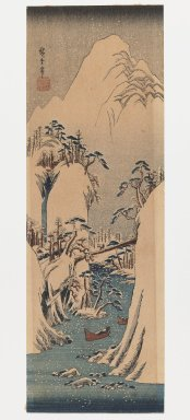 Utagawa Hiroshige (Ando) (Japanese, 1797-1858). <em>Winter Landscape</em>. Woodblock print, color on paper, Image: 12 1/4 x 4 in., with frame: 19 1/8 x 8 1/2 in. Brooklyn Museum, Bequest of Christiana C. Burnett, 2002.4.3 (Photo: Brooklyn Museum, 2002.4.3_IMLS_PS3.jpg)
